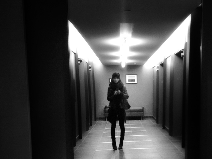 Absurdly bundled up for April taking creepy photos of myself lurking in the hotel halls...