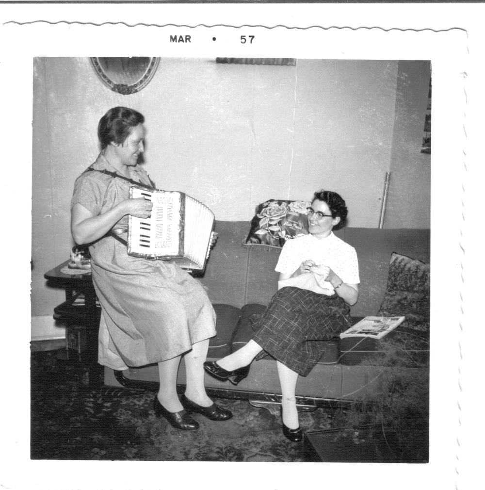 Newfoundland - Zilda Hillier and her friend in Main Brook.jpg
