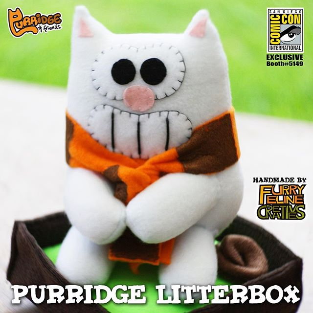 """Introducing our 2016 #SDCC exclusive. """"Purridge Litterbox"""" our favorite cat Purridge is sitting down on the litterbox leaving something behind.  This is something every cat owner must have!  #furryfelinecreatives #purridgeandfriends #iheartpoopculture #designerplush #designertoys #cats #furryfeline #catsofinstagram #sdccexclusive #limitededition #comiccon #sdcc2016 #sdcc2016exclusive"""