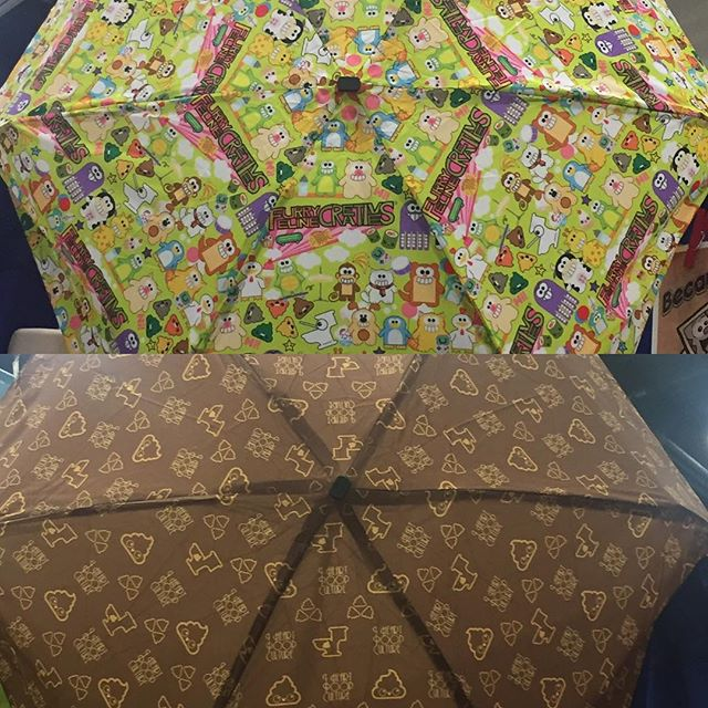 When it rains, it pours and we have you guys covered.  Introducing our two new umbrellas..Furry Feline Creatives umbrella and Poopie Vuitton Umbrella!  Available now at booth #5149 #SDCC #sdcc2016 #purridgeandfriends #iheartpoopculture #umbrella #covered #poop #poopievuitton #lifestylebrand #furryfelinecreatives