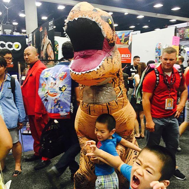 They love the T-Rex!  #furryfelinefamily #furryfelinecreatives #kids #children #sdcc #dinosaur #fun #sdcc2016