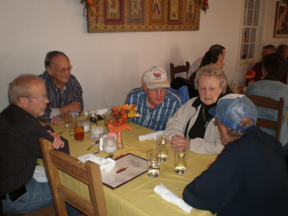 Michael, Bob Agnew, Frank Corey, Betty and Art Leupold shared a table at Rancho de Chimayo