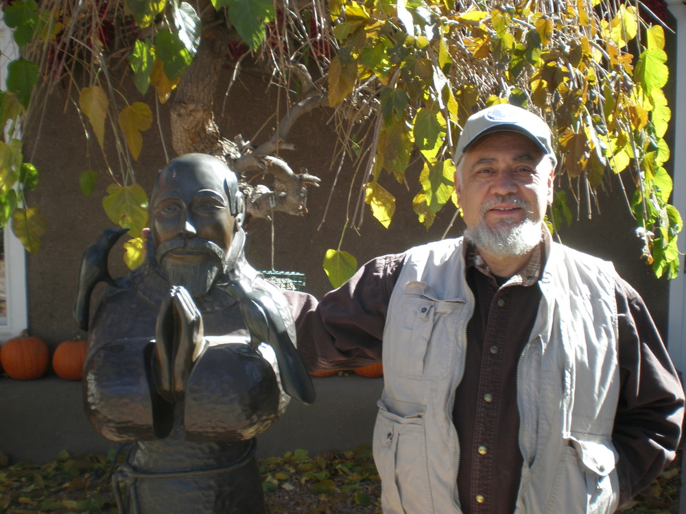 Marco and one of his bronze sculptures.   This saint is in the entry way to Rancho de Chimayo
