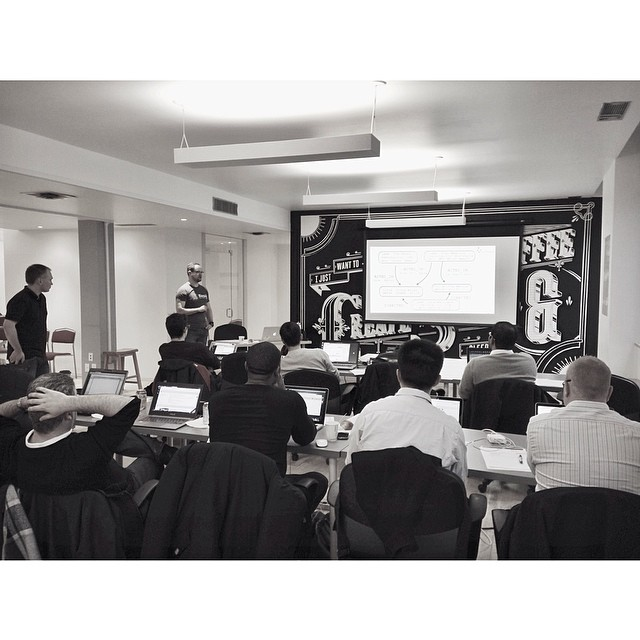 David Colebatch and Graeme Hein delivering an Introduction to Neo4J course, March 2014