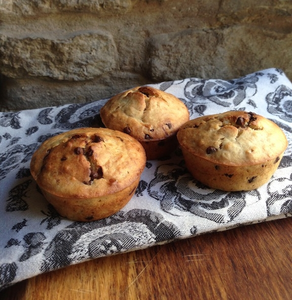 Favorite oatmeal chocolate chip banana muffins at Halcyon Homestead Blog