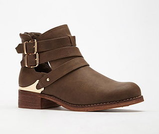 Forever 21 Buckled Cutout Faux Leahter Booties.png