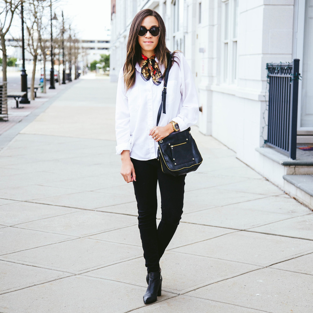 White Button Up Shirt + Vintage Scarf 4.jpg