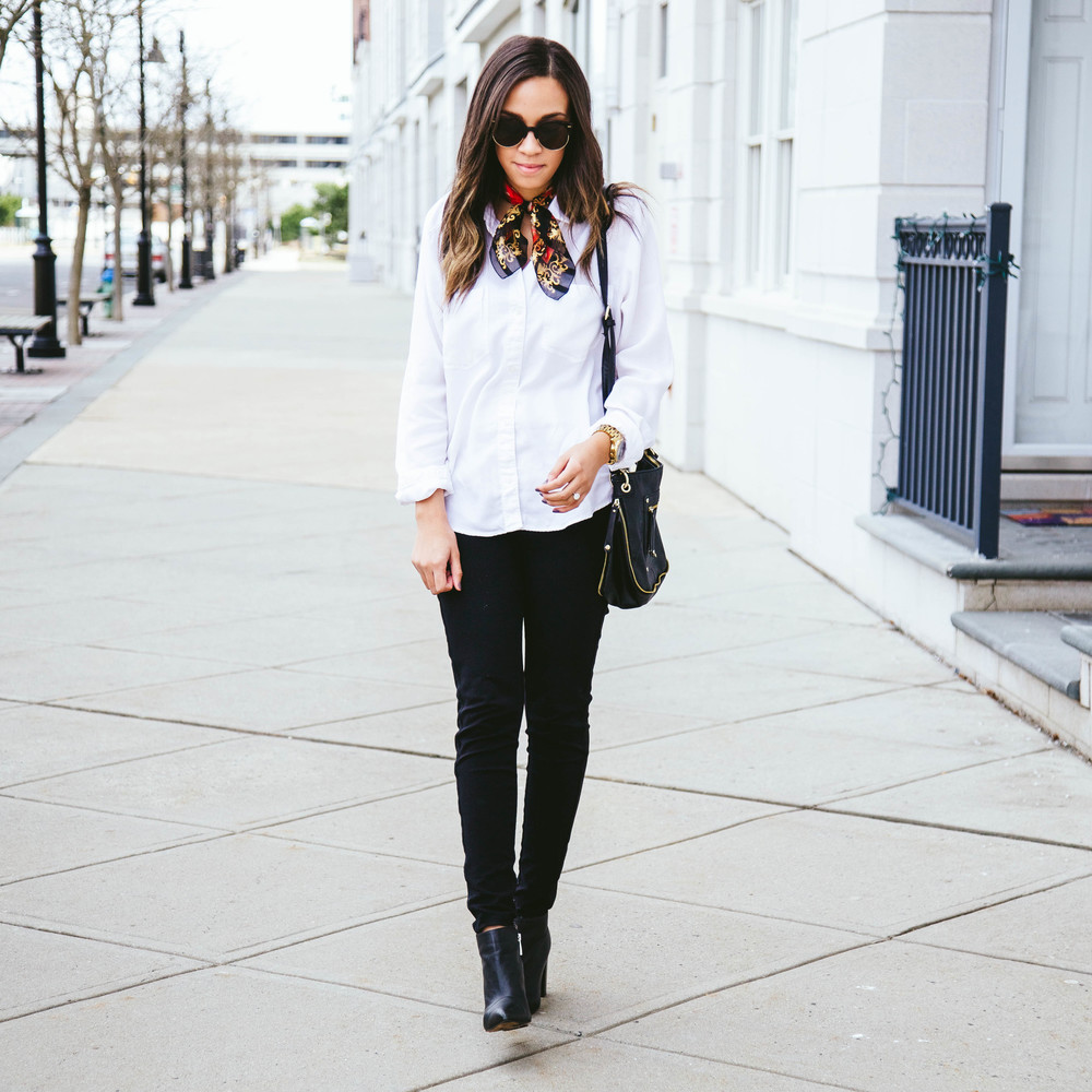 White Button Up Shirt + Vintage Scarf.jpg