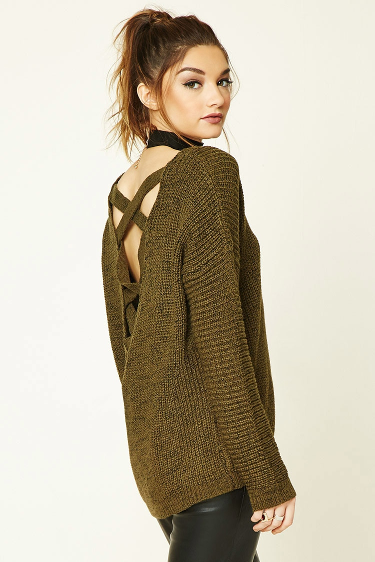 Olive Green Criss Cross Back Sweater .jpg