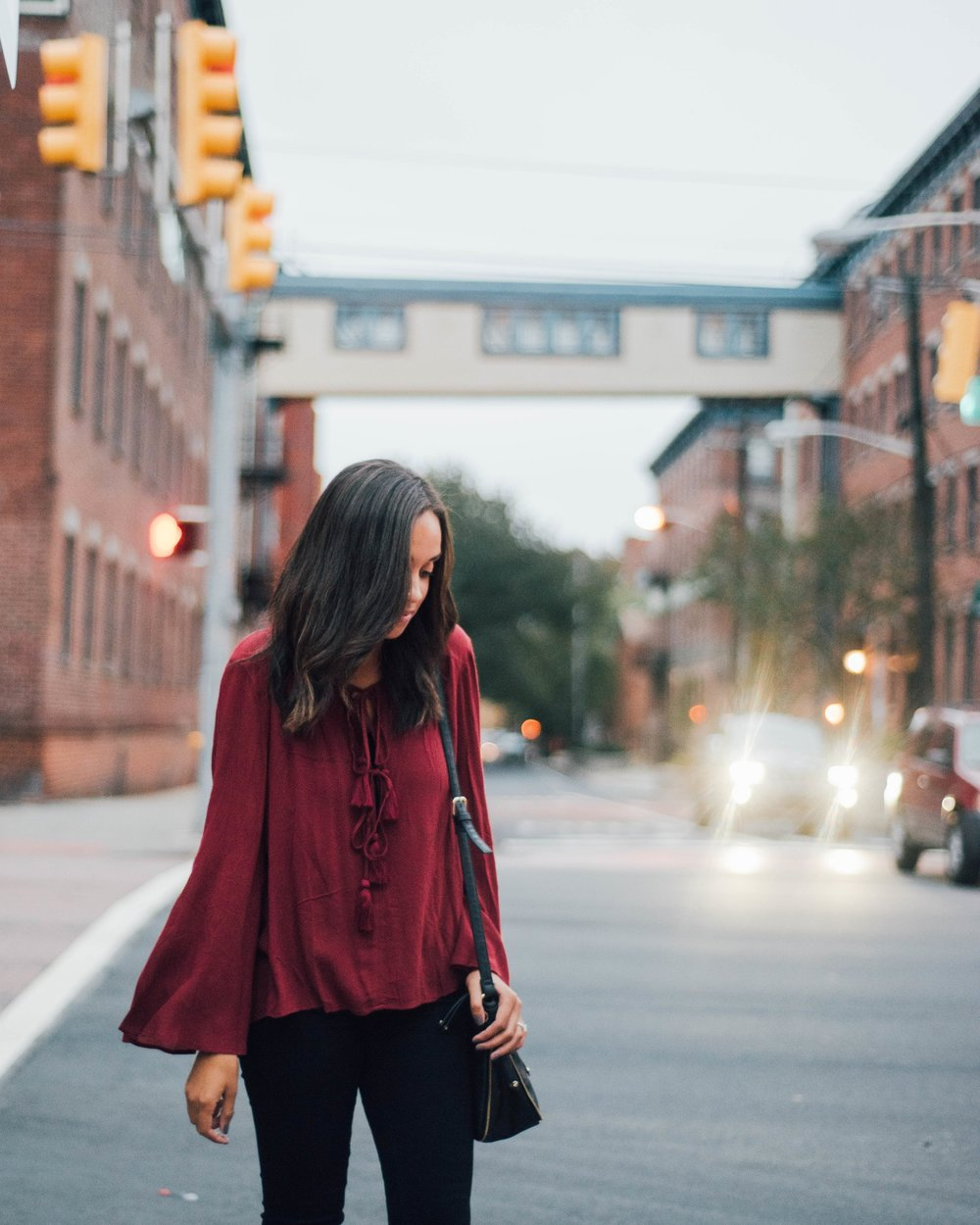 Burgundy Bell Sleeve Top1
