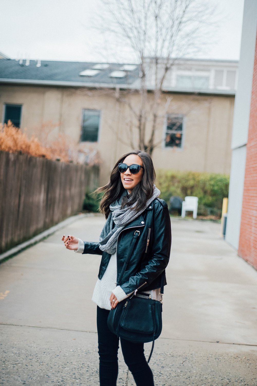 Black Faux Leather Jacket + Grey Infinity Scarf 5.jpg