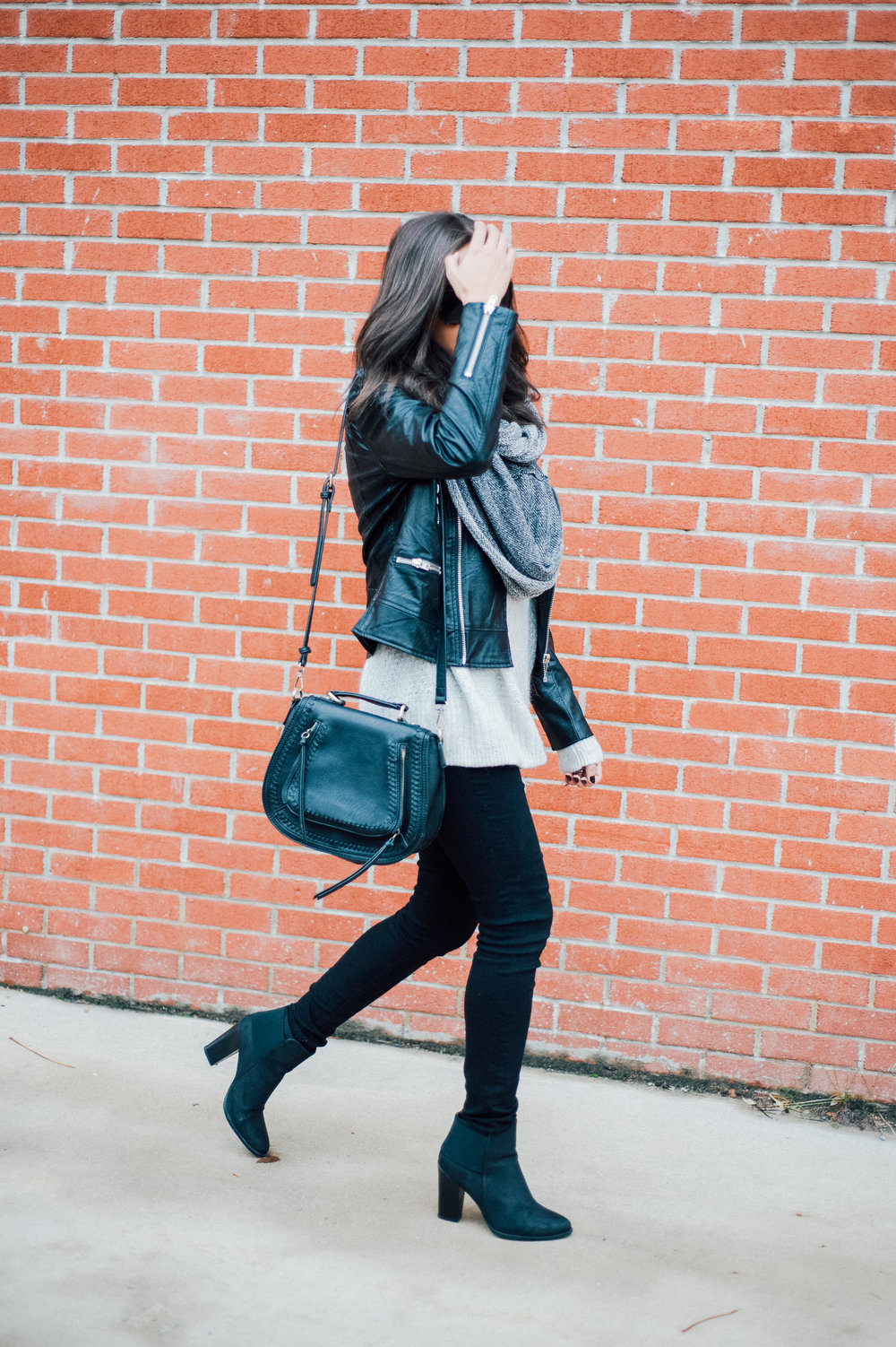 Black Faux Leather Jacket + Grey Infinity Scarf 26.jpg
