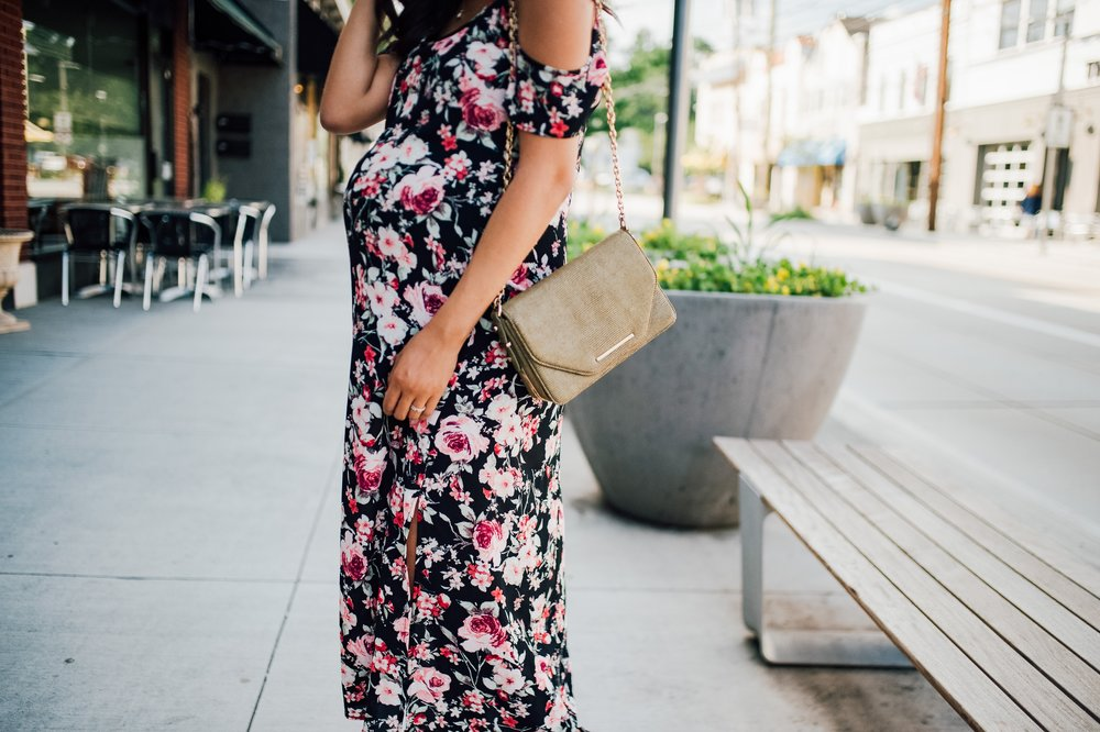 Floral Cold Shoulder Dress + Maternity Style + Wedding 1.jpg