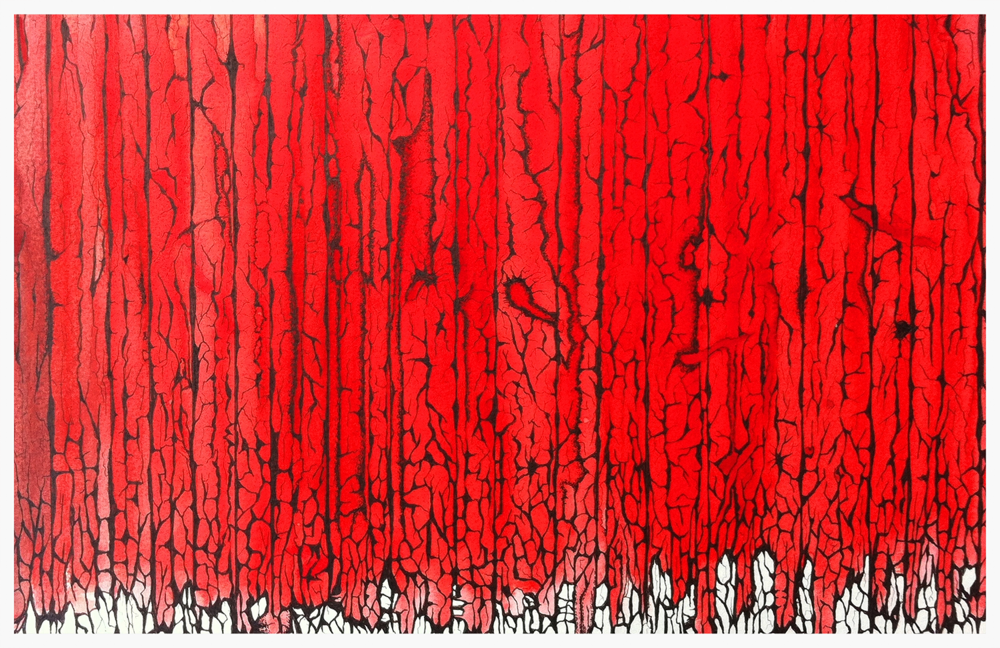 A Curtain of Red Ink on paper 50 cm  x  70 cm © ANTHONY WIGGLESWORTH 2015