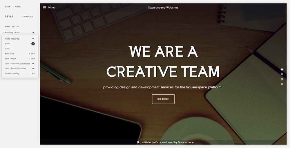 Adding custom fonts to Squarespace: Using custom font Settings