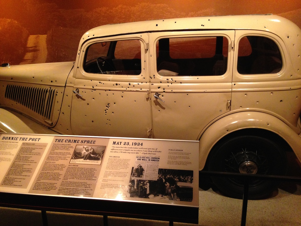 The car Bonnie Parker and Clyde Barrow were shot to death in.