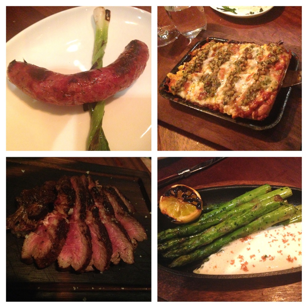 Clockwise from top left: Chorizo Gaucho, beef and pork sausage; Choclo, corn cream, crab, roasted peppers and asiago; Esparragos, charred asparagus, bagna caudal; Bife de Chorizo, Uruguayan ribeye