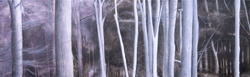 "Southbury Trees No. 2   Oil on canvas, 18"" x 60"", 2002"