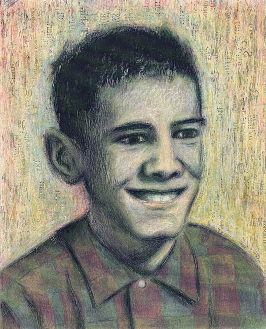 "Junior High Series: Curtis L   Ink transfer, mixed media on board, 10"" x 8"", 2000"