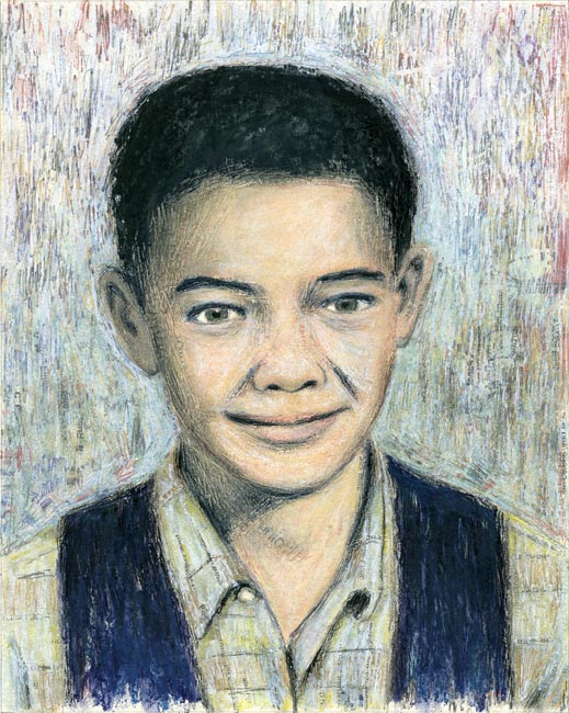 "Junior High Series: Billy W   Ink transfer, mixed media on board, 10"" x 8"", 2000"