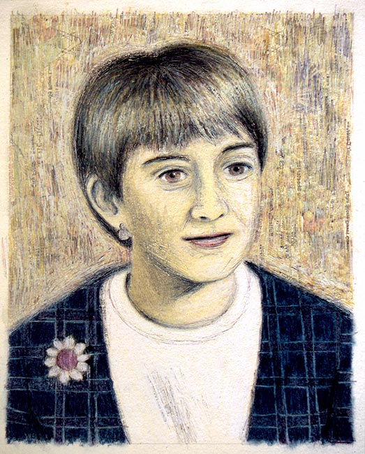 "Junior High Series: Bonnie W   Ink transfer, mixed media on board, 10"" x 8"", 2000"