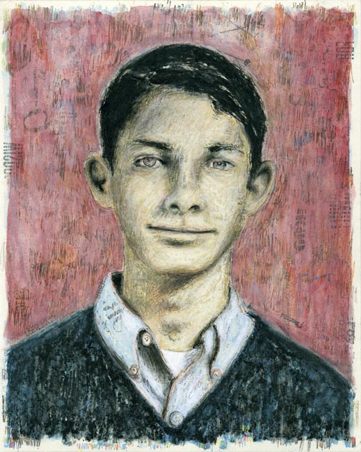 "Junior High Series: Kent K   Ink transfer, mixed media on board, 10"" x 8"", 2012"
