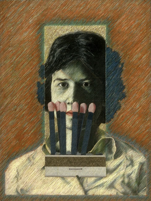 "Maggie/Matches   Colored pencil on paper, 26"" x 20"", 1983"