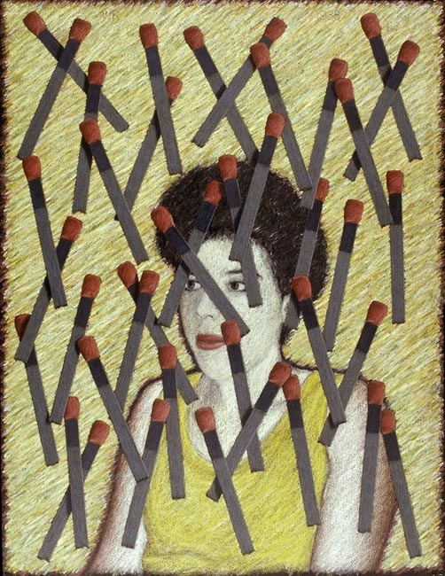 "Carla/Matches   Colored pencil and oil pastel on paper, 26"" x 20"", 1988"