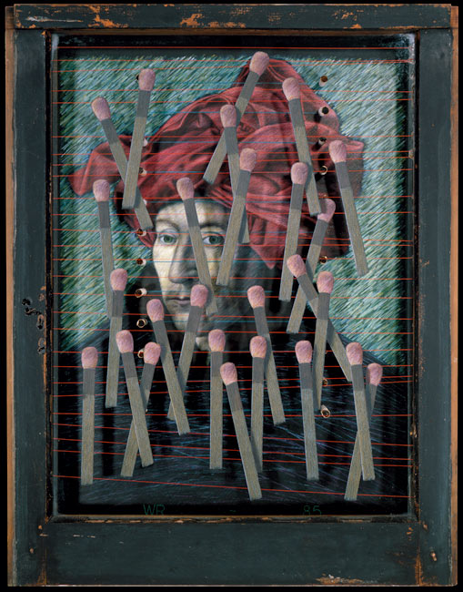 "Man with Turban   Colored pencil on board with found objects within old window frame, 28"" x 22"" x 2-1/2"", 1985"
