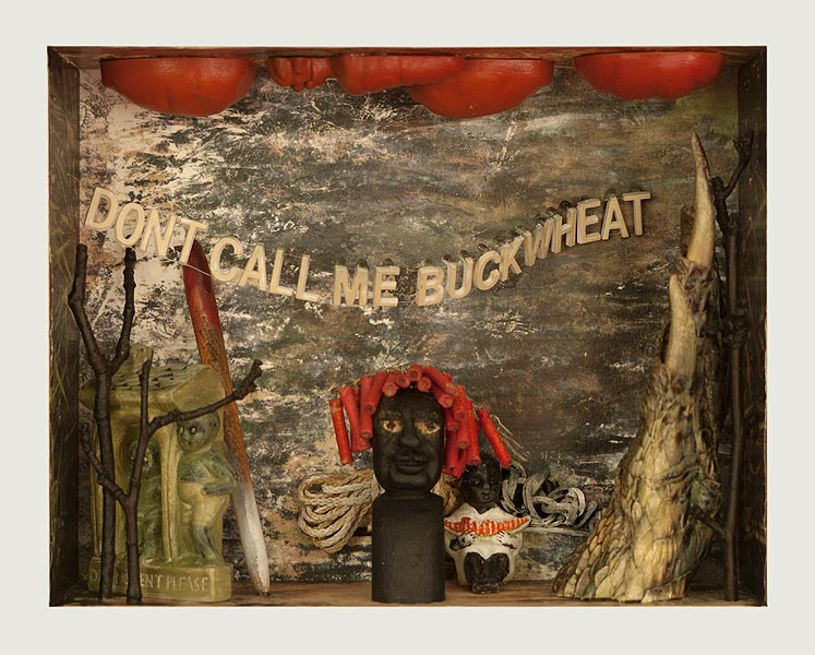"Don't Call Me Buckwheat   Mixed media and found objects, 6-3/4"" x 8-1/2"" x 3"", 2013"
