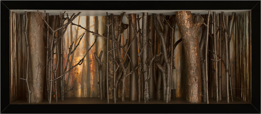 "Southbury Trees No. 11   Mixed media and found objects, 8-1/2"" x 19-5/8"" x 8-1/16"", 2013"