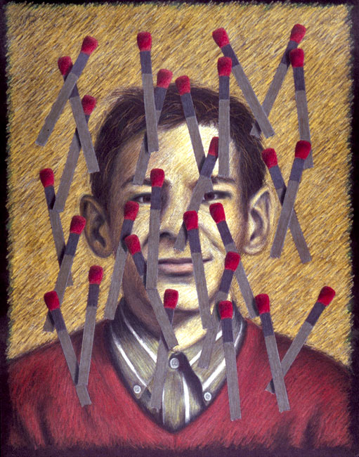 "Curtis with Matches   Colored pencil and oil pastel on paper, 26"" x 20"", 1999"