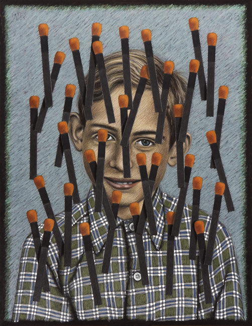 "German Boy with Matches   Colored pencil and white acrylic on board, 26-1/2"" x 20-1/2"", 2005 