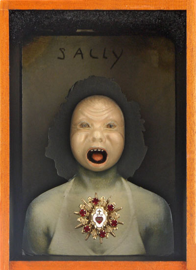 "Sally    Giclee prints, mixed media and found objects   6-1/8"" x 4-3/8"" x 4-3/16"", 2014"