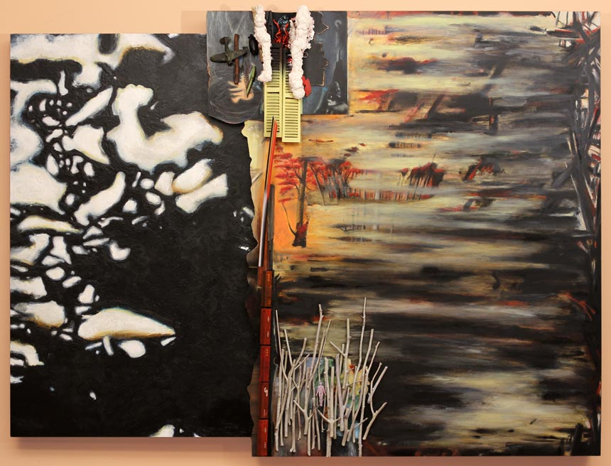 "Standing Before Me   Oil and encaustic on wood panels and found objects, 48-1/2"" x 65"" x 6"", 2014"