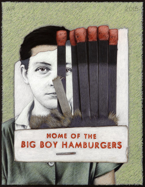"Discarded Big Boy Matchbook   Colored pencil on board, 26-1/2"" x 20-1/2"", 2015"