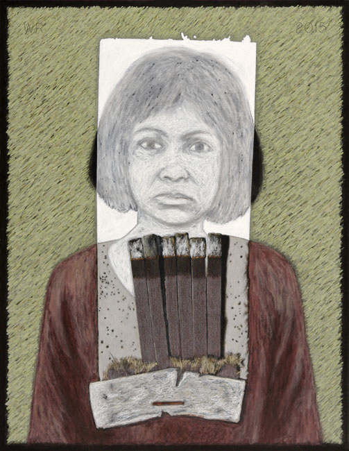 "Tuol Sleng Prisoner   Colored pencil and gouache on board, 26-1/2"" x 20-1/2"", 2015"