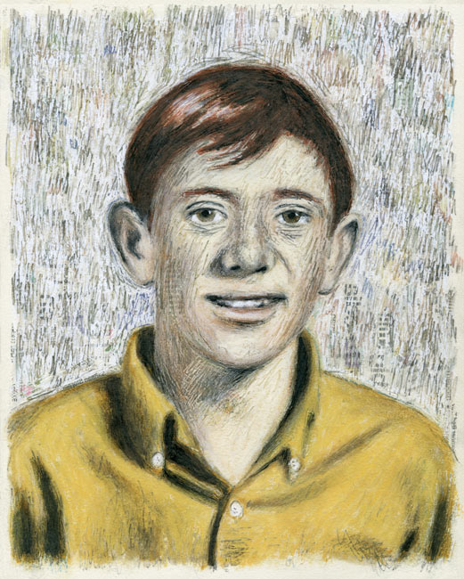 "Junior High Series: Bill S   Ink transfer, mixed media on board, 10"" x 8"", 2015"
