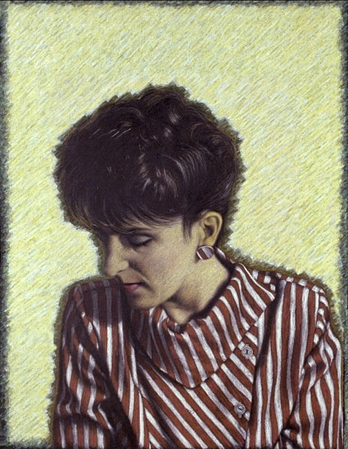 "Portrait of Colette   Colored pencil and oil pastel on paper, 28"" x 20-1/2"", 1987"