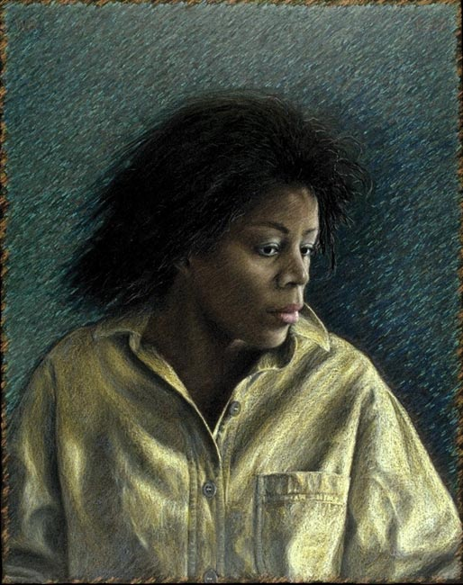 "Portrait of Miss Johnson   Colored pencil and oil pastel on board, 30"" x 24"", 1988"
