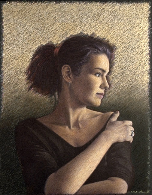 "Portrait of Tania (No. 2)   Colored pencil and oil pastel on board, 28"" x 20-1/2"", 1989"