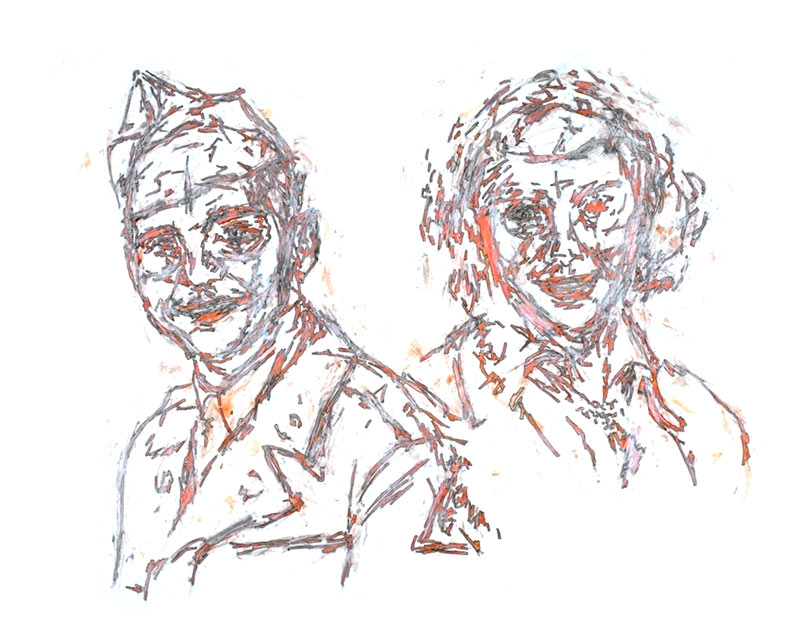 """Mom and Dad, circa 1951   Watercolor and ink on paper, 17"""" x 22-1/2"""", 1991"""