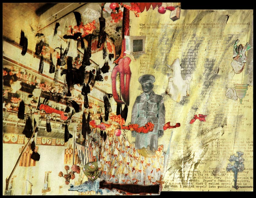 "I Exiled Myself into Puzzles   Collage with ink mounted on plywood, 7"" x 9-1/8"", 1995"