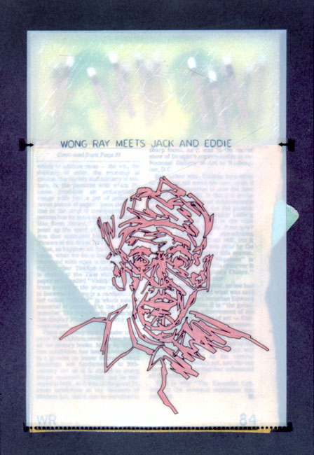 """Wong Ray Meets Jack and Eddie   Mixed media and found objects, 11"""" x 7-5/8"""", 1984"""