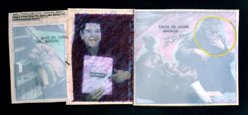 """Presidential Statement   Mixed media and printed images, 7-3/8"""" x 13-3/4"""", 1984"""