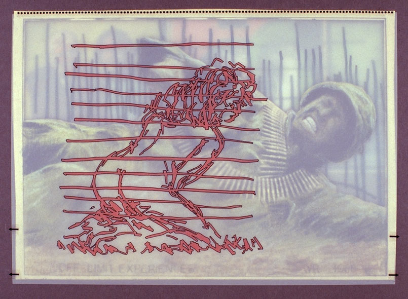 """Off-Limit Experiences   Mixed media and printed images, 8-3/8"""" x 11"""", 1988"""