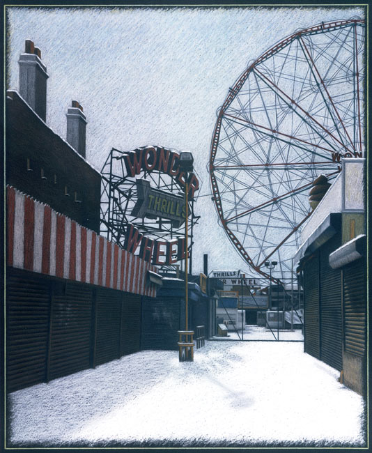 "New York City Scene No 4 (Coney Island in Winter)   Pencil, pastel and oil pastel on board, 32-1/4"" x 26-7/8"", 1998"