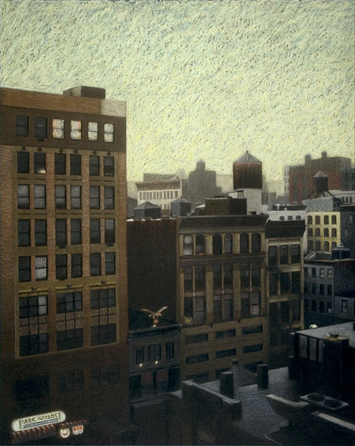 "New York City Scene No 1 (Chelsea Rooftops)   Pencil, pastel and oil pastel on board, 32-1/4"" x 26-7/8"", 1991"