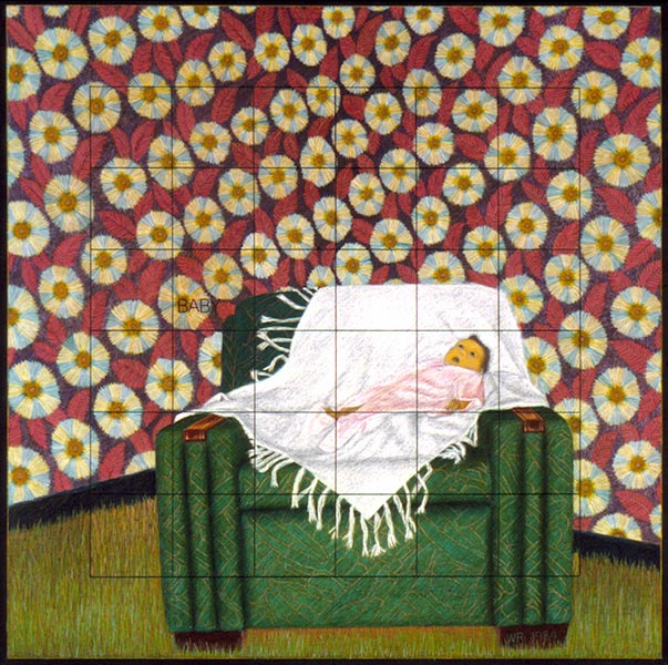 "Baby in the Chair   Colored pencil on paper, 30"" x 30"", 1984"