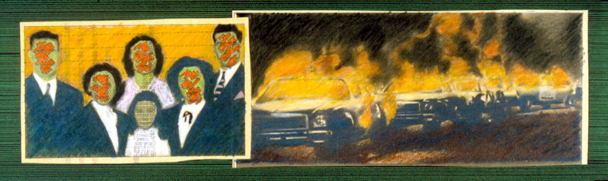"Video Project (selected panel)   Colored pencil and ink on newsprint, 4"" x 13"", 1986"